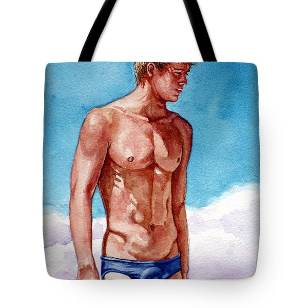Nude Male Blonde In Blue Speedo Tote Bag