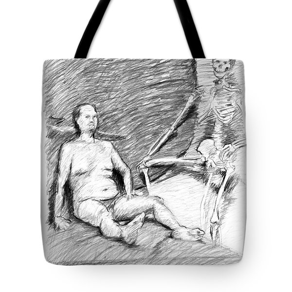 Nude Man With Skeleton Tote Bag by Adam Long