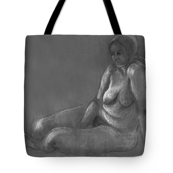 Nude Of A Real Woman In Black Tote Bag by Rachel Hershkovitz