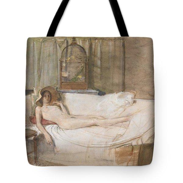 Nude On A Sofa Tote Bag by John Ward