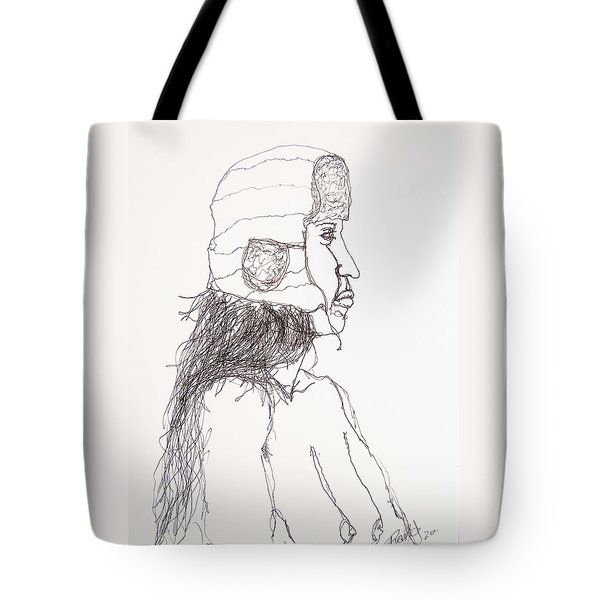 Nude With Hat On Bus Tote Bag by Rand Swift