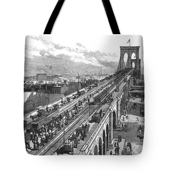 Ny: Brooklyn Bridge, 1883 Tote Bag by Granger