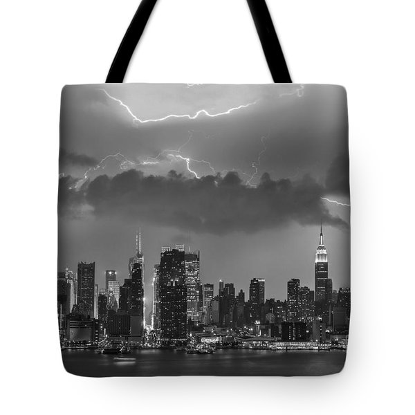 Nyc All Charged Up Bw Tote Bag by Susan Candelario