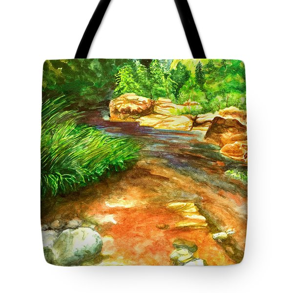 Tote Bag featuring the painting Oak Creek Red by Eric Samuelson