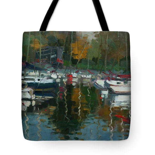 Oakville Harbour On Tote Bag by Ylli Haruni