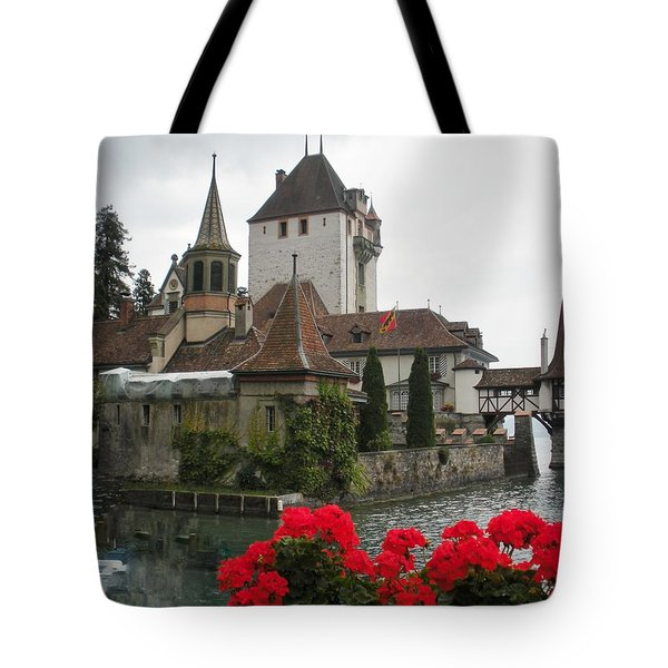 Oberhofen Castle Switzerland Tote Bag by Marilyn Dunlap
