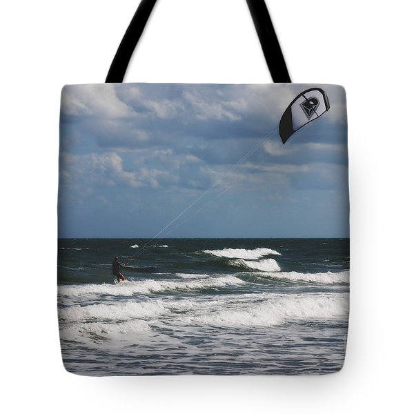 October Beach Kite Surfer Tote Bag by Susanne Van Hulst