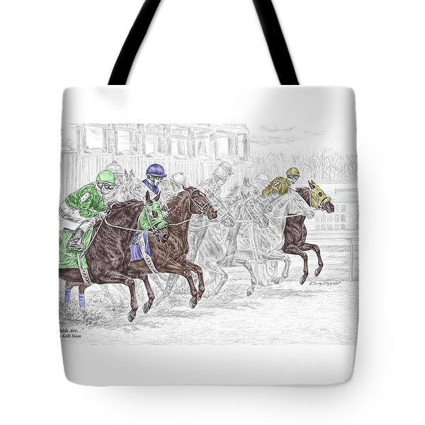 odds are tb horse racing print color tinted tote bag by kelli swan