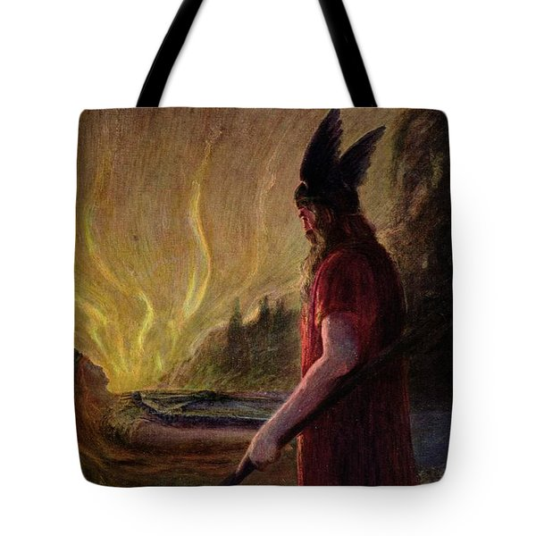 Odin Leaves As The Flames Rise Tote Bag by H Hendrich
