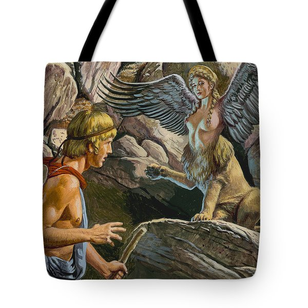 Oedipus Encountering The Sphinx Tote Bag by Roger Payne