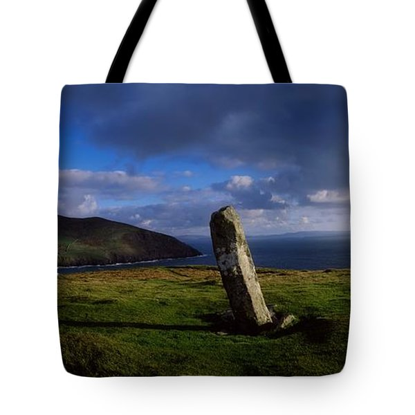 Ogham Stone At Dunmore Head, Dingle Tote Bag by The Irish Image Collection