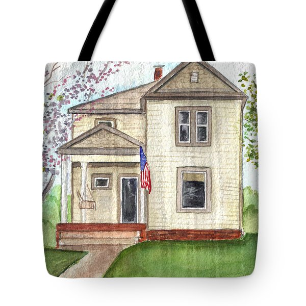 Tote Bag featuring the painting Ohio Cottage With Flag by Clara Sue Beym