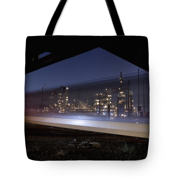 Oil Refinery And Train Blur Tote Bag by Mike Raabe