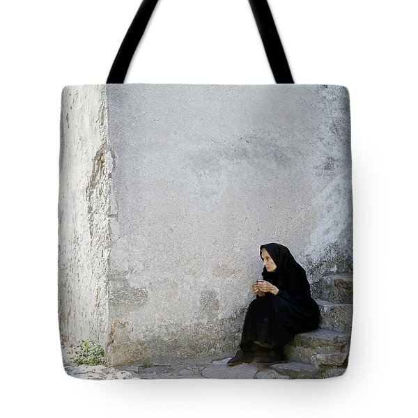 Old Age Woman Sitting Tote Bag by Juan Carlos Ferro Duque