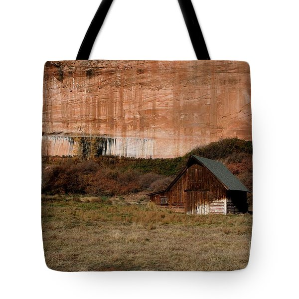 Tote Bag featuring the photograph Old Barn In Angel Canyon #1  by Nola Lee Kelsey
