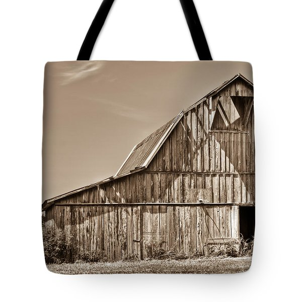 Old Barn In Sepia Tote Bag by Douglas Barnett