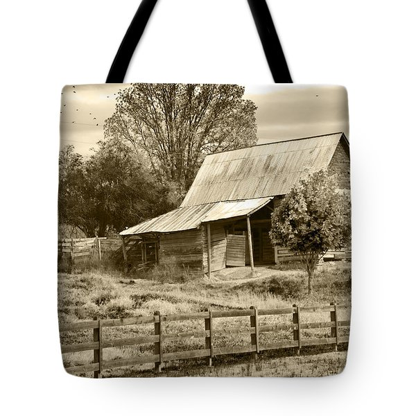 Tote Bag featuring the photograph Old Barn Sepia Tint by Susan Leggett