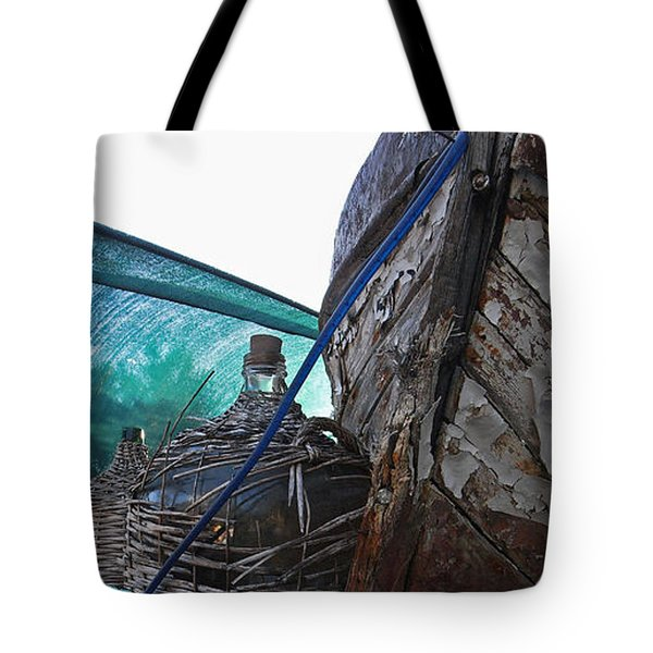 Old Boat And Flagons Tote Bag