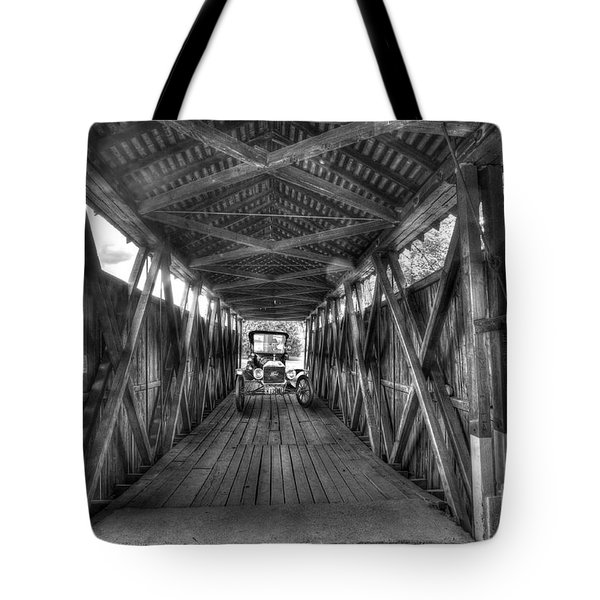 Old Car On Covered Bridge Tote Bag by Dan Friend