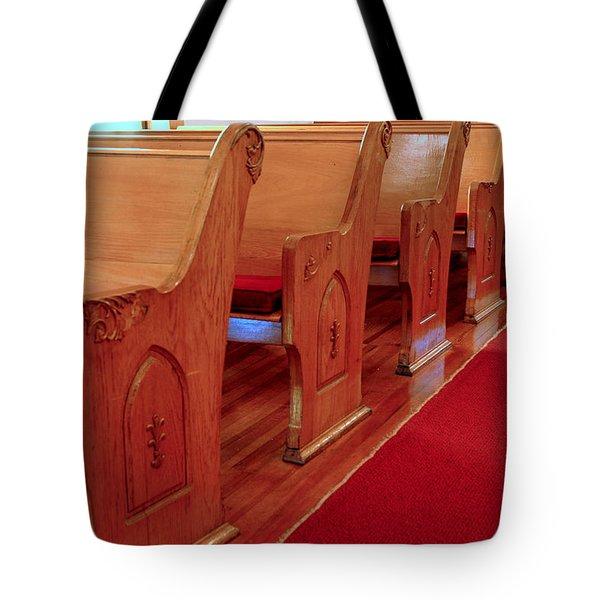 Old Church Pews Tote Bag by LeeAnn McLaneGoetz McLaneGoetzStudioLLCcom