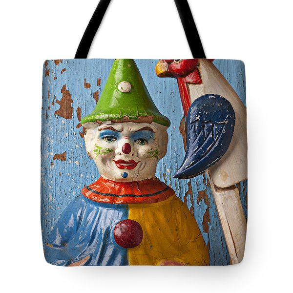 Old Clown And Roster Tote Bag by Garry Gay