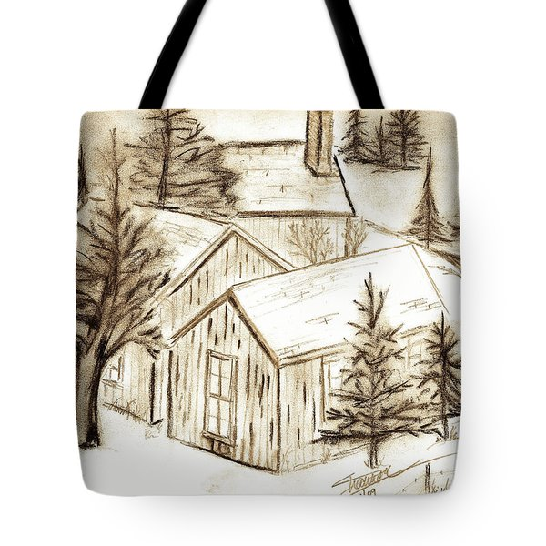Tote Bag featuring the drawing Old Colorado by Shannon Harrington