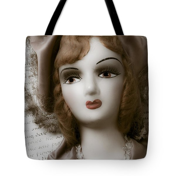 Old Doll On Old Letter Tote Bag by Garry Gay