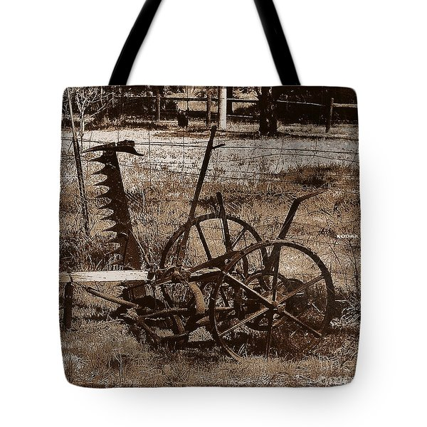 Tote Bag featuring the photograph Old Farm Equipment by Blair Stuart