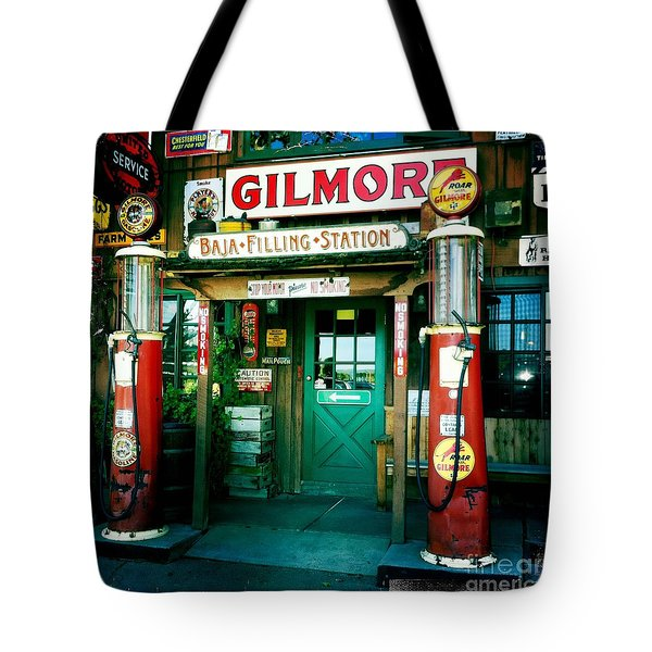Old Fashioned Filling Station Tote Bag