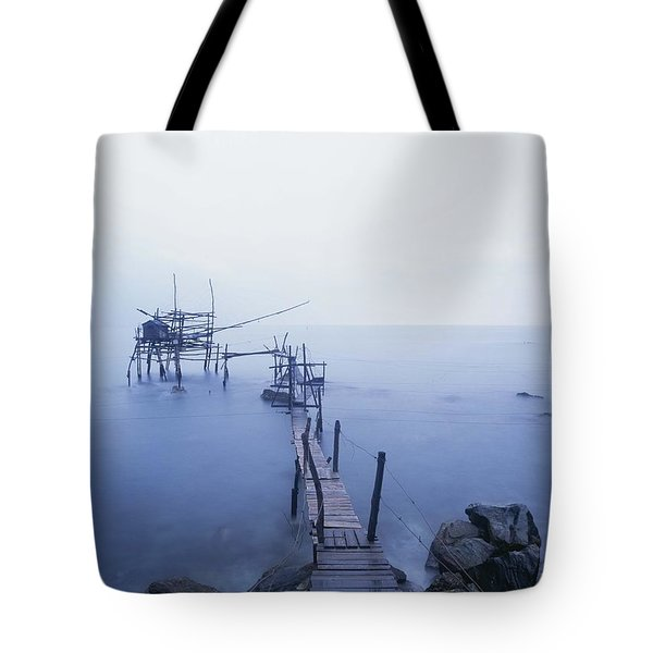 Old Fishing Platform At Dusk Tote Bag by Axiom Photographic