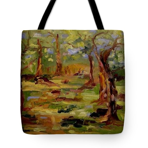 Tote Bag featuring the painting Old Fort Park by Carol Berning