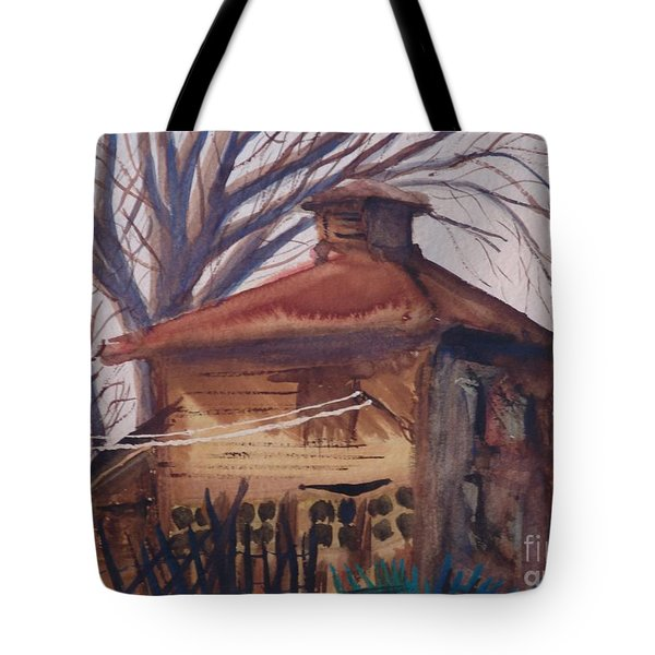 Tote Bag featuring the painting Old Garage by Rod Ismay