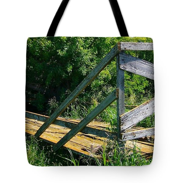 Tote Bag featuring the photograph Old Hayrack by Jim Sauchyn