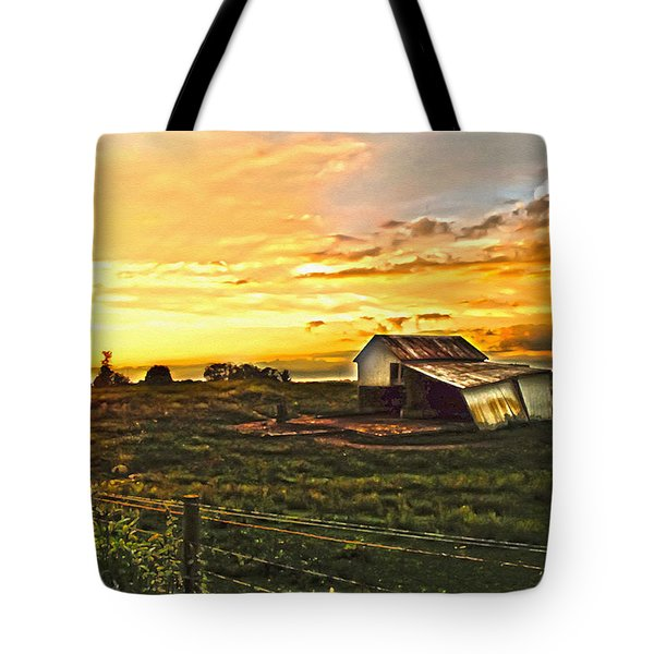 Old Horse Shed At Sundown Tote Bag by Randall Branham
