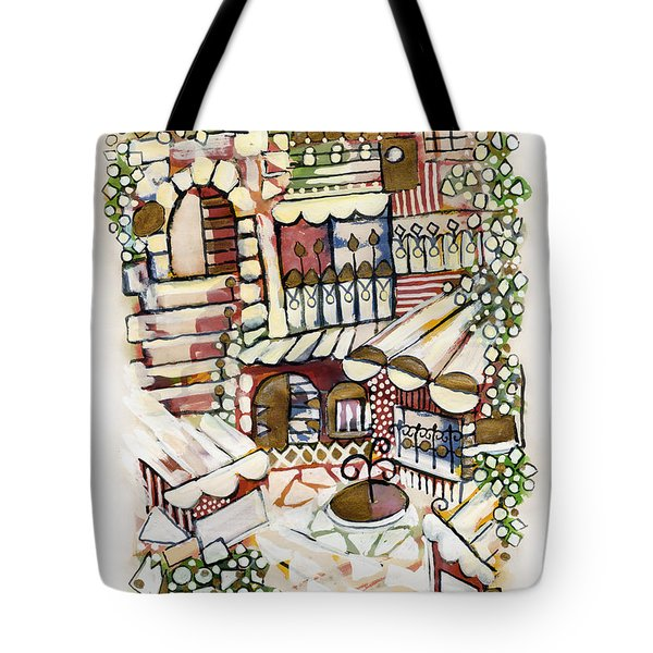 Old Jerusalem Courtyard Modern Artwork In Red White Green And Blue With Rooftops Fences Flowers Tote Bag by Rachel Hershkovitz