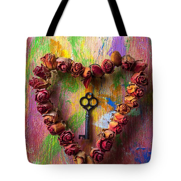 Old Key And Rose Heart Tote Bag by Garry Gay