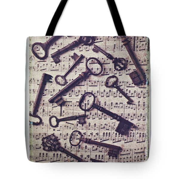 Old Keys On Sheet Music Tote Bag by Garry Gay