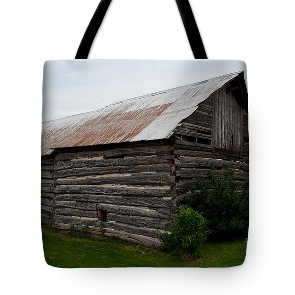 Tote Bag featuring the photograph Old Log Building by Barbara McMahon