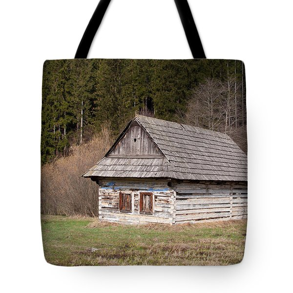 Tote Bag featuring the photograph Old Log House by Les Palenik