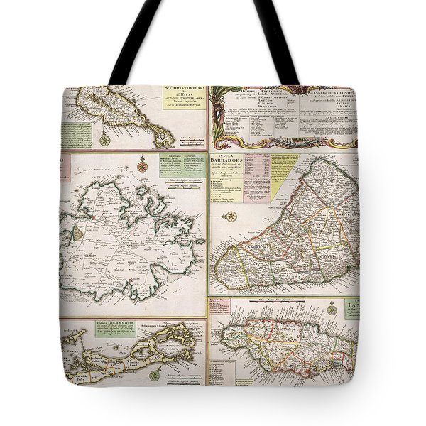 Old Map Of English Colonies In The Caribbean Tote Bag by German School