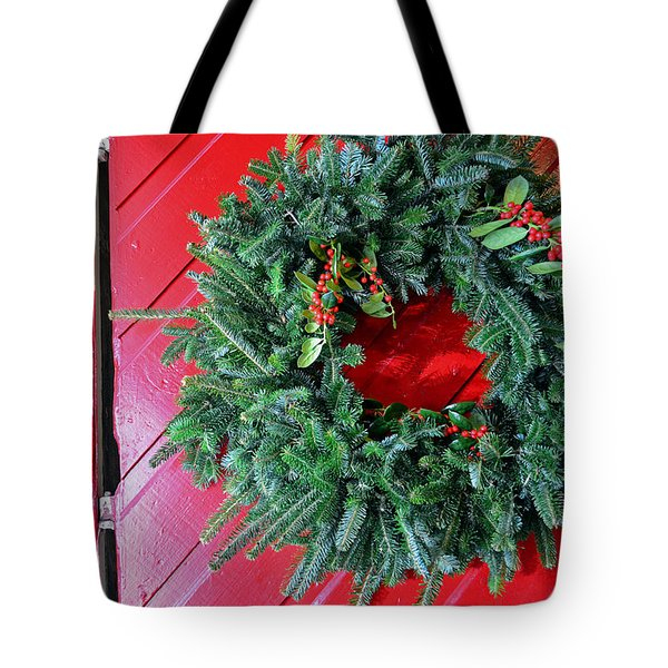 Old Mill Of Guilford Door Wreath Tote Bag by Sandi OReilly