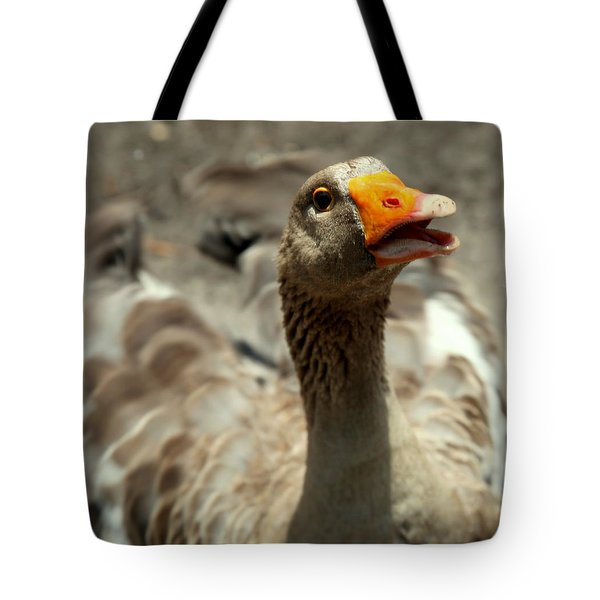 Old Mother Goose Tote Bag by Karen Wiles