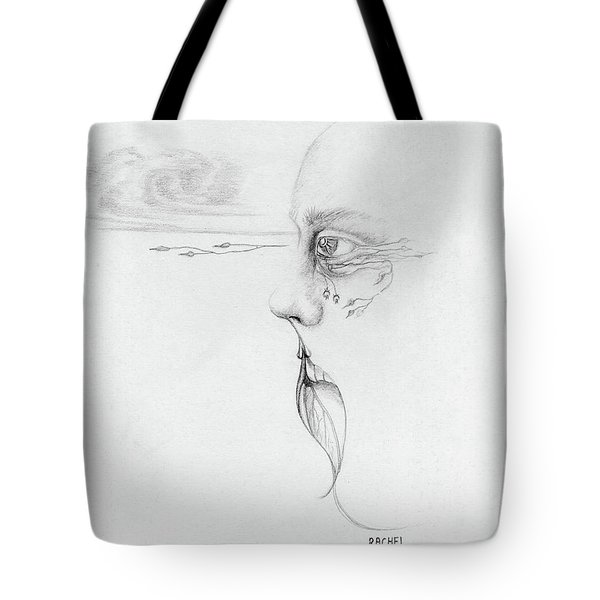Old Nature Face Black And White Art Looking Into Cloud  L Leaf Beard Fantasy Flower Tear Surreal Tote Bag by Rachel Hershkovitz