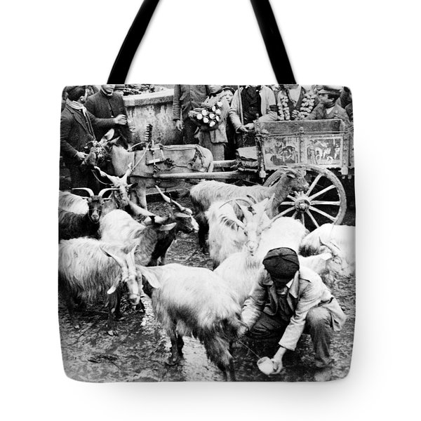 Old Palermo Sicily - Goats Being Milked At A Market Tote Bag by International  Images
