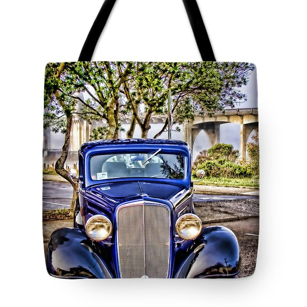 Old Roadster - Blue Tote Bag by Carol Leigh