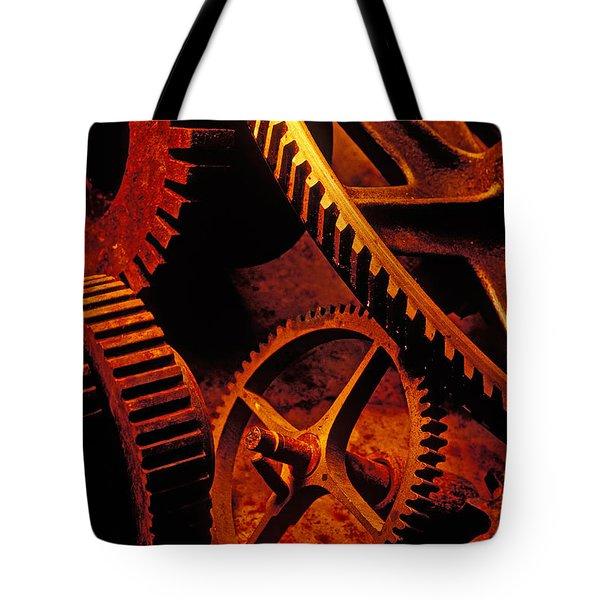 Old Rusty Gears Tote Bag by Garry Gay