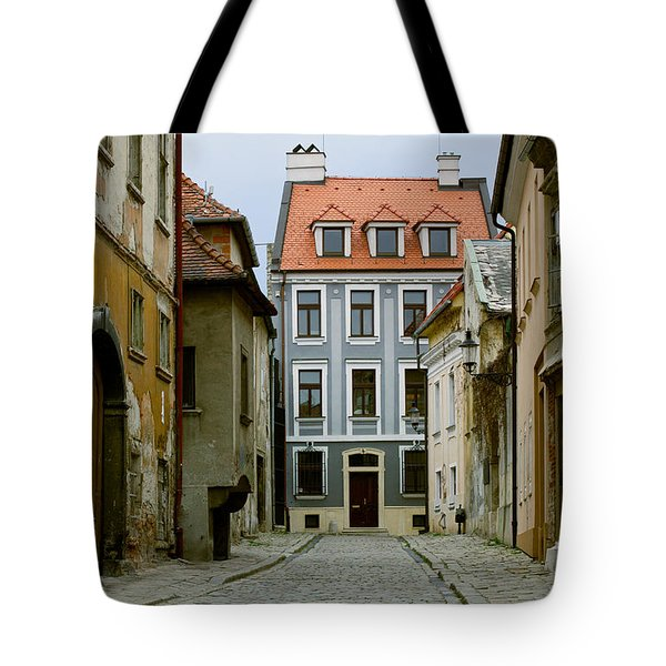 Tote Bag featuring the photograph Old Street In Bratislava by Les Palenik