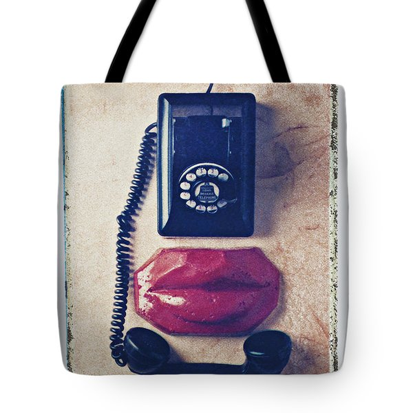 Old Telephone And Red Lips Tote Bag by Garry Gay