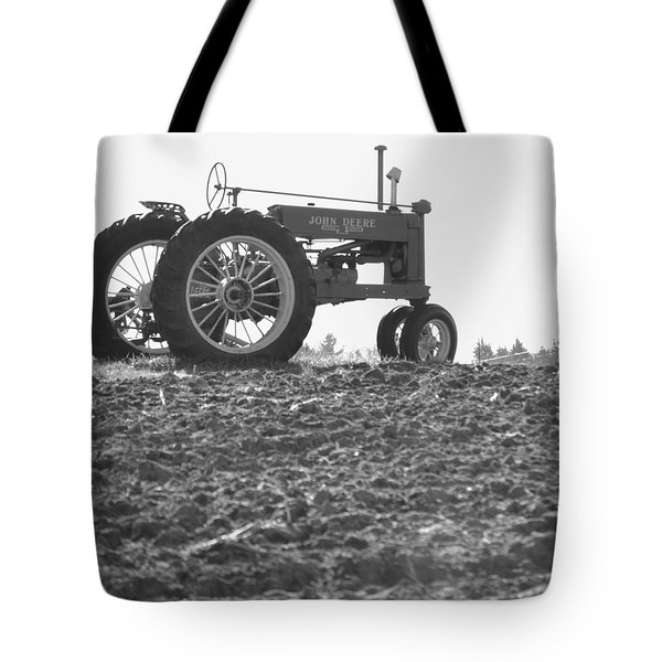 Old Tractor II In Black-and-white Tote Bag