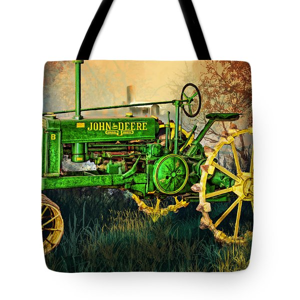 Tote Bag featuring the digital art Old Tractor by Mary Almond